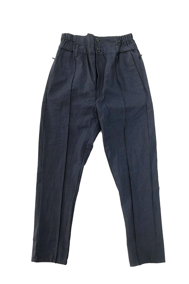 MUZE-LINEN SLACKS [SLIM] (BLUE)ミューズ パンツ