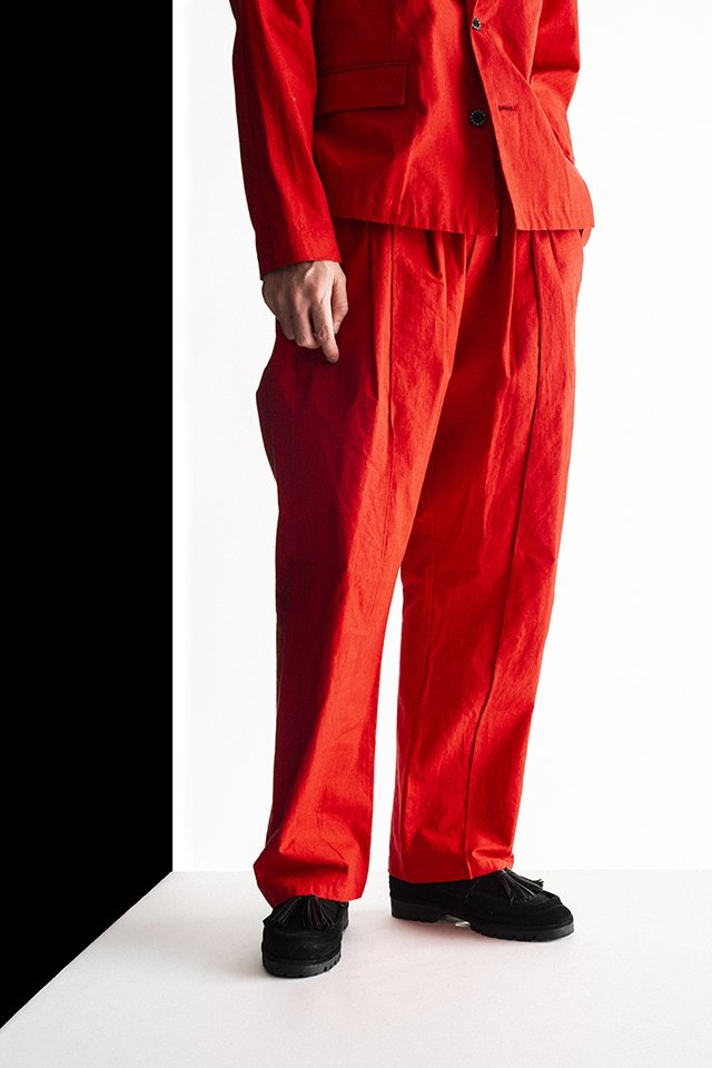 MUZE-LINEN SLACKS [WIDE] (ORANGE)ミューズ パンツ