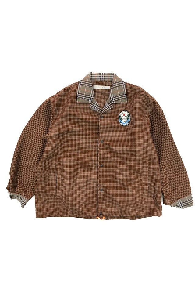 MUZE - SAPPORO LAGER BEER OLD LABEL WAPPEN CHECK COACH JACKET (BROWN) ミューズ ジャケット