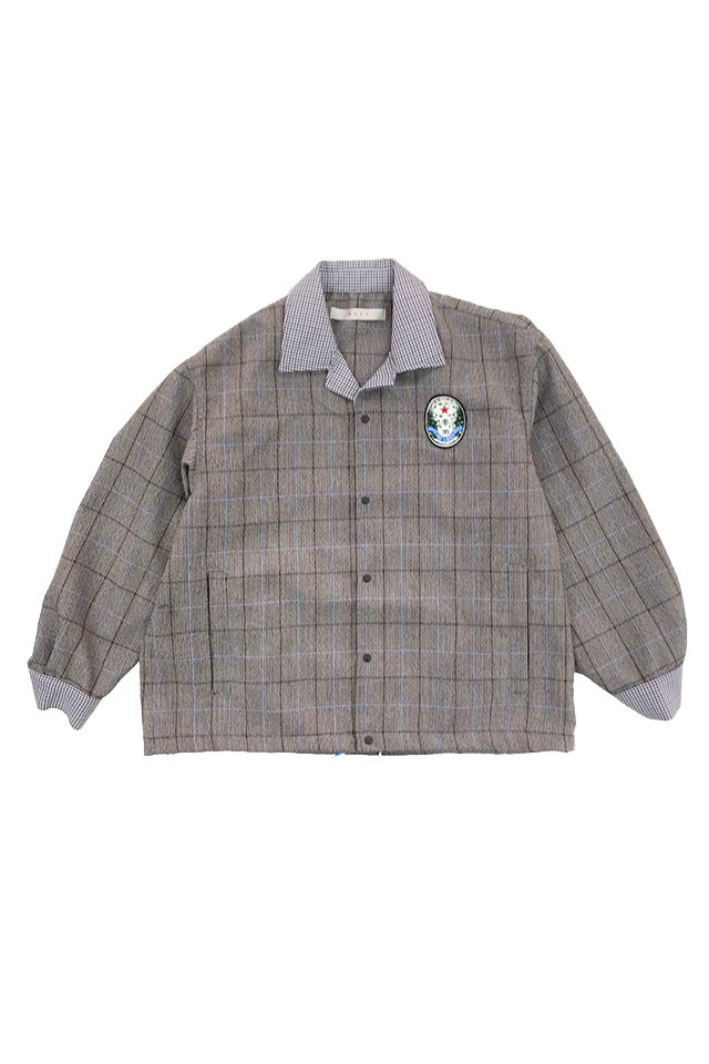 MUZE - SAPPORO LAGER BEER OLD LABEL WAPPEN CHECK COACH JACKET (GRAY) ミューズ ジャケット