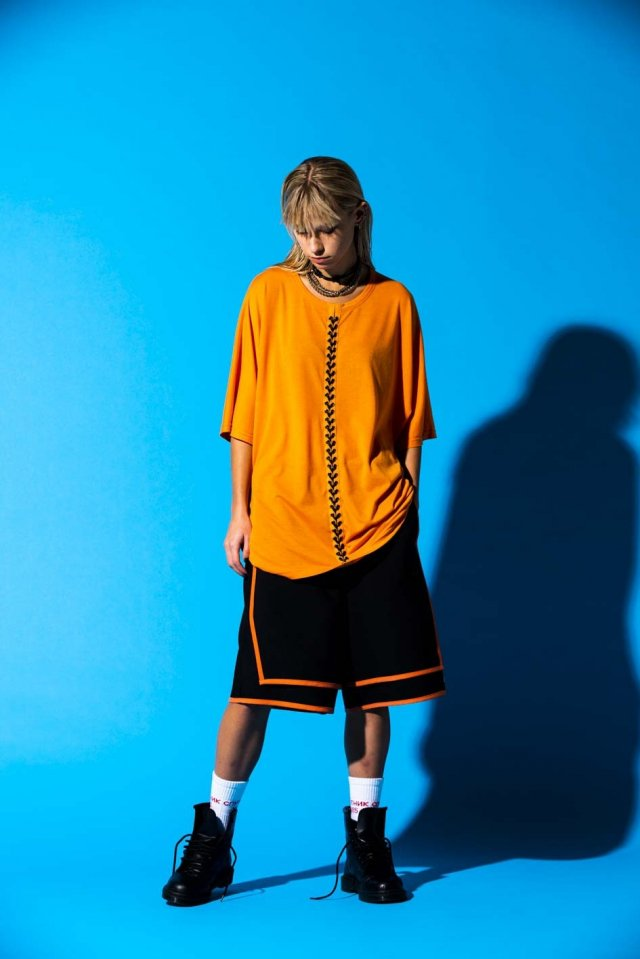 PARADOX×EVERLAST - LACEUP DOLMAN TEE(ORANGE) パラドックス  シャツ