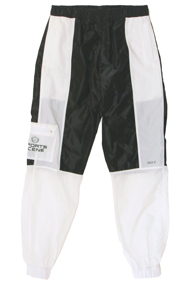 【20%OFF】SHOOP - Sports Scene BW Nylon Track Pants (BLACK/TRANSPARENT WHITE) シュープ パンツ