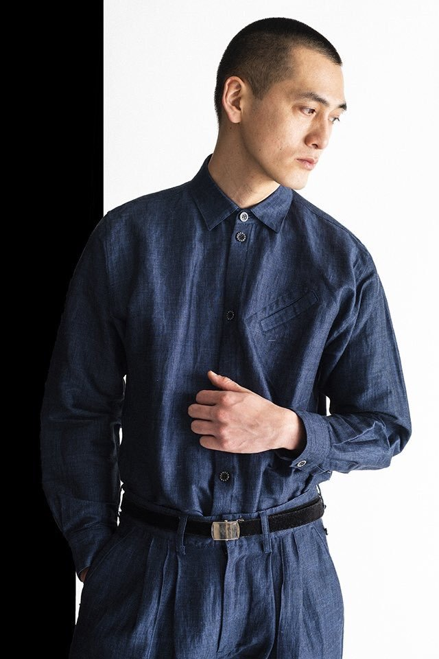 MUZE × PHITEN - RELAX OXFORD SHIRTS(BLUE)