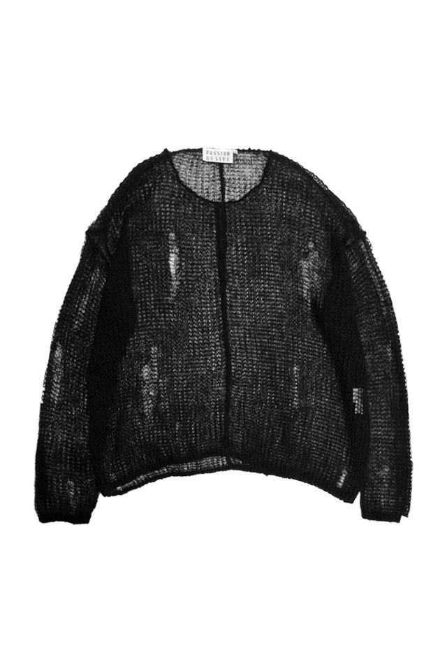 elconductorH - MOHAIR DESTROY KNIT SWEATER 'JOHNN (BLACK)