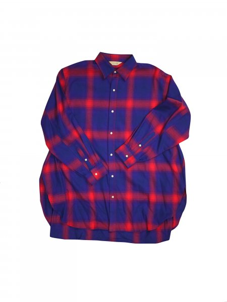 JieDa - OMBRE PLAID LONG SHIRT (RED)