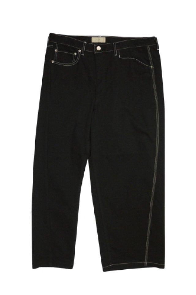 JieDa - ASSYMMETRY DENIM PANTS (O/W BLACK)