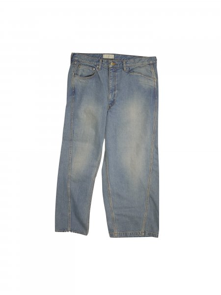 JieDa - ASSYMMETRY DENIM PANTS (USED INDIGO)