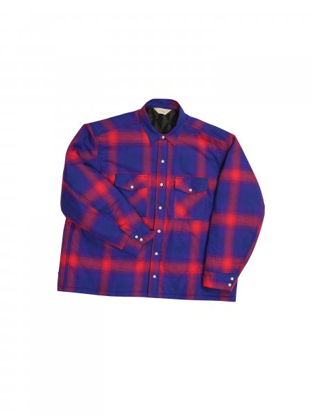 【10%OFF】JieDa - OMBRE PLAID PADDING SHIRT (RED)