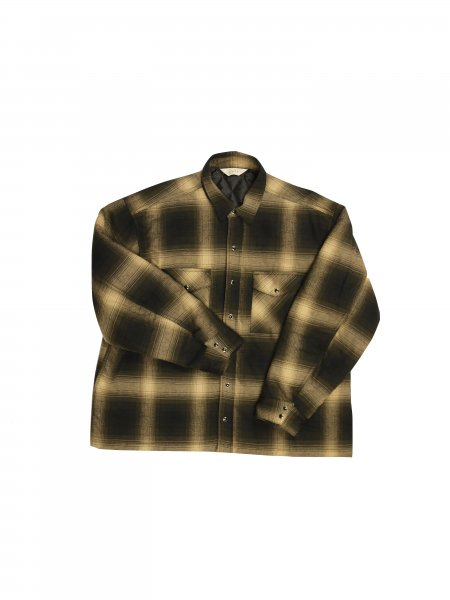 JieDa - OMBRE PLAID PADDING SHIRT (BROWN)