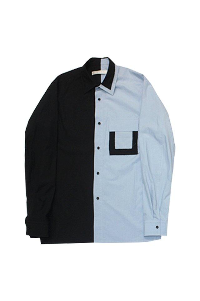 MUZE turquoise label - ASYMMETRY SHIRTS(BLACK-TIRQUOISE) ミューズ 2019-20年秋冬コレクション アシンメトリーシャツ