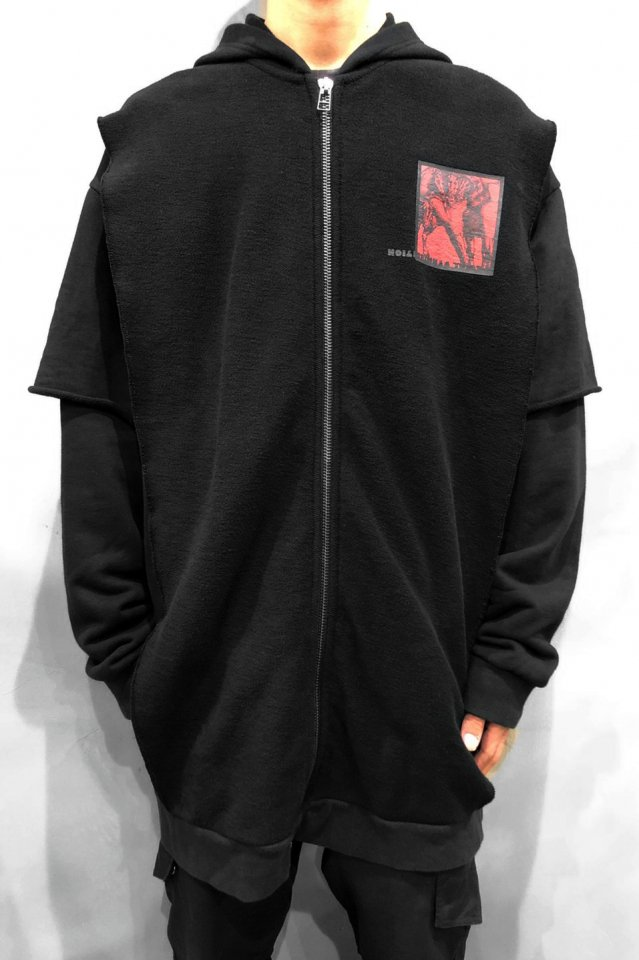 【15%OFF】KOMAKINO - ANOTHER CRACK LAYERED FLEECE HOODIE (BLACK) コマキノ F/W2019-20 collection