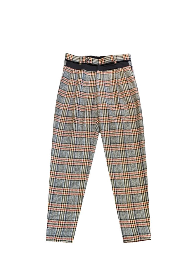 MUZE TURQUOISE LABEL - CHECK SLACKS(GRAY CHECK)