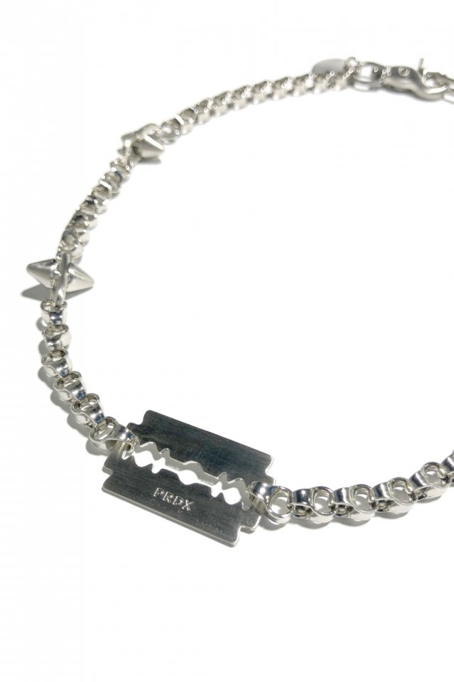 PRDX PARADOX TOKYO × BLACK TRIANGLE DESIGN - SPIKE&industrial chain razor necklace(SILVER)