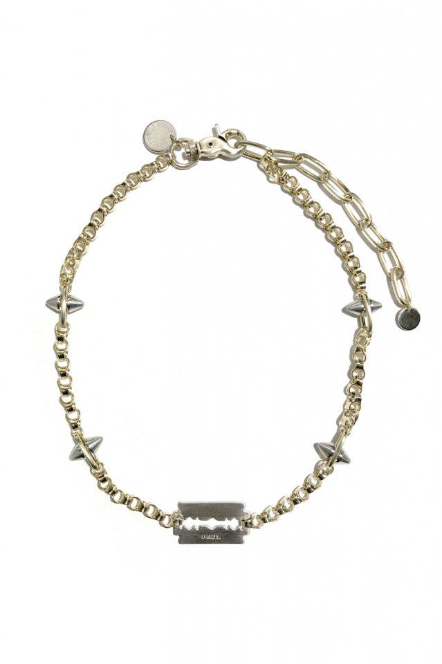 PRDX PARADOX TOKYO × BLACK TRIANGLE DESIGN - SPIKE&industrial chain razor necklace(GOLD)