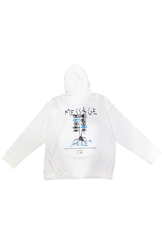 "MUZE BLACK LABEL-""MESSAGE"" Pigment Dye PARKA(WHITE)"