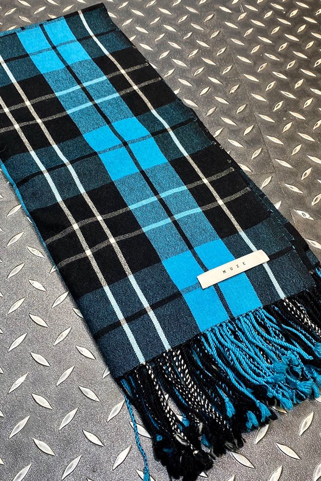 【coming soon】MUZE turquoise label - CHECK SCARF (TURQUOSIE × BRWON CHECK)