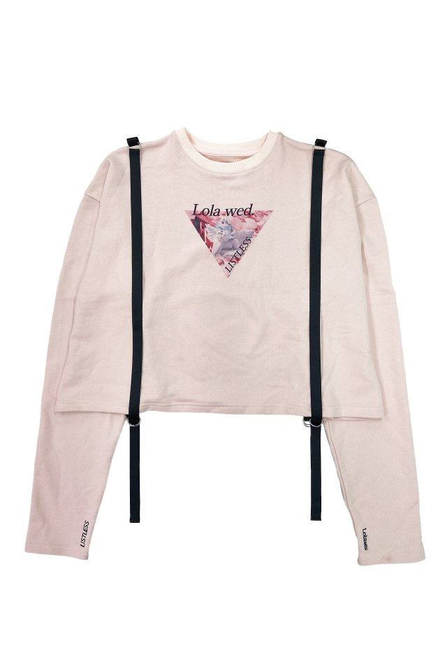 Lolawed.×LISTLESS - サスペンダー風スウェット(Pink)