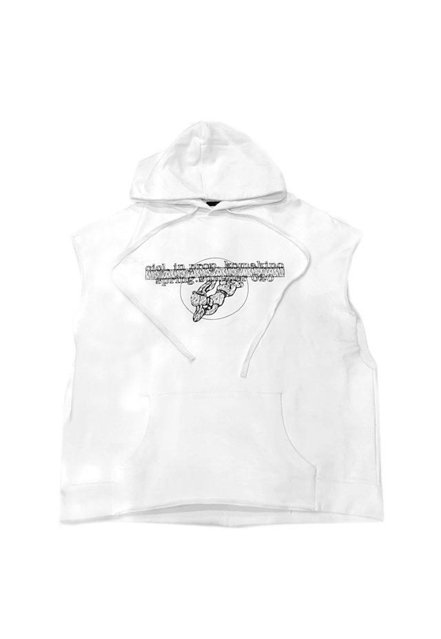 <img class='new_mark_img1' src='https://img.shop-pro.jp/img/new/icons1.gif' style='border:none;display:inline;margin:0px;padding:0px;width:auto;' />KOMAKINO - DISCHARGE SLEEVELESS HOODIE (WHITE) コマキノ S/S2020 collection