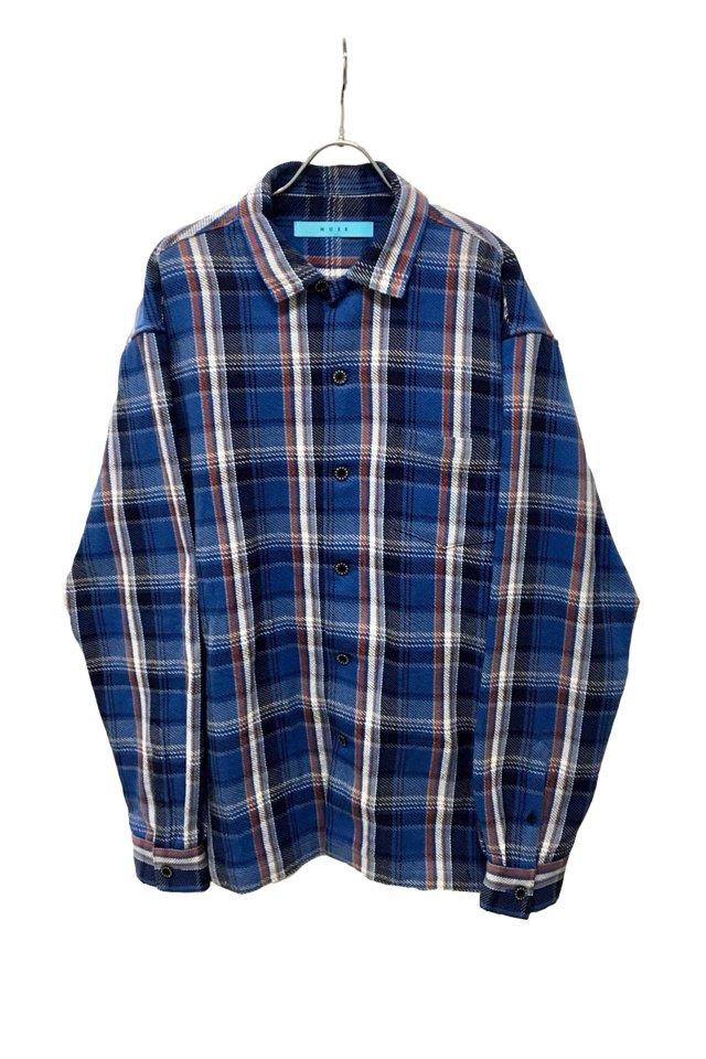 MUZE - Cotton twill check Oversized Shirt (BLUE×ORANGE)