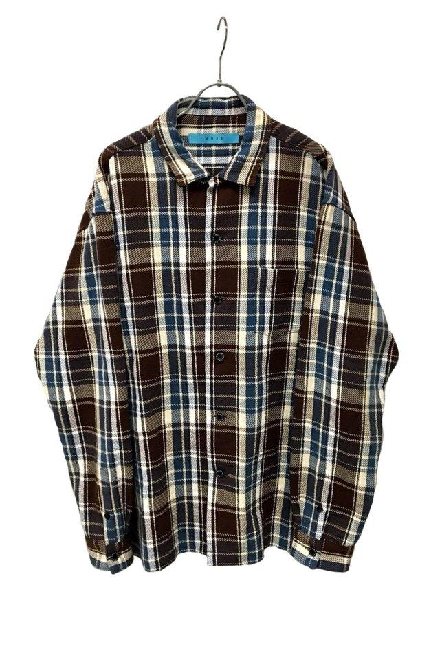 MUZE - Cotton twill check Oversized Shirt (BLUE×BROWN)