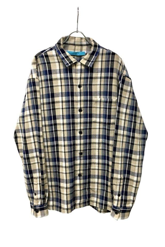 MUZE - Cotton twill check Oversized Shirt (BLUE×BEIGE)