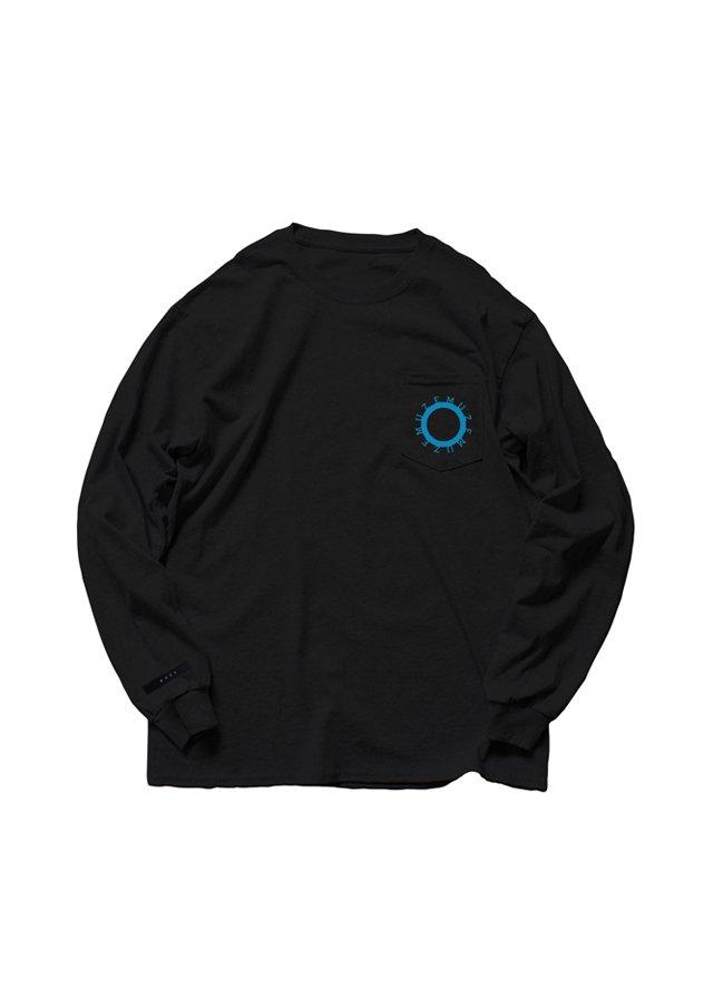 【6月上旬お届け予定先行予約商品】MUZE - 未渦 CIRCLE LOGO POCKET L/S TEE(BLACK/TURQUOISE)
