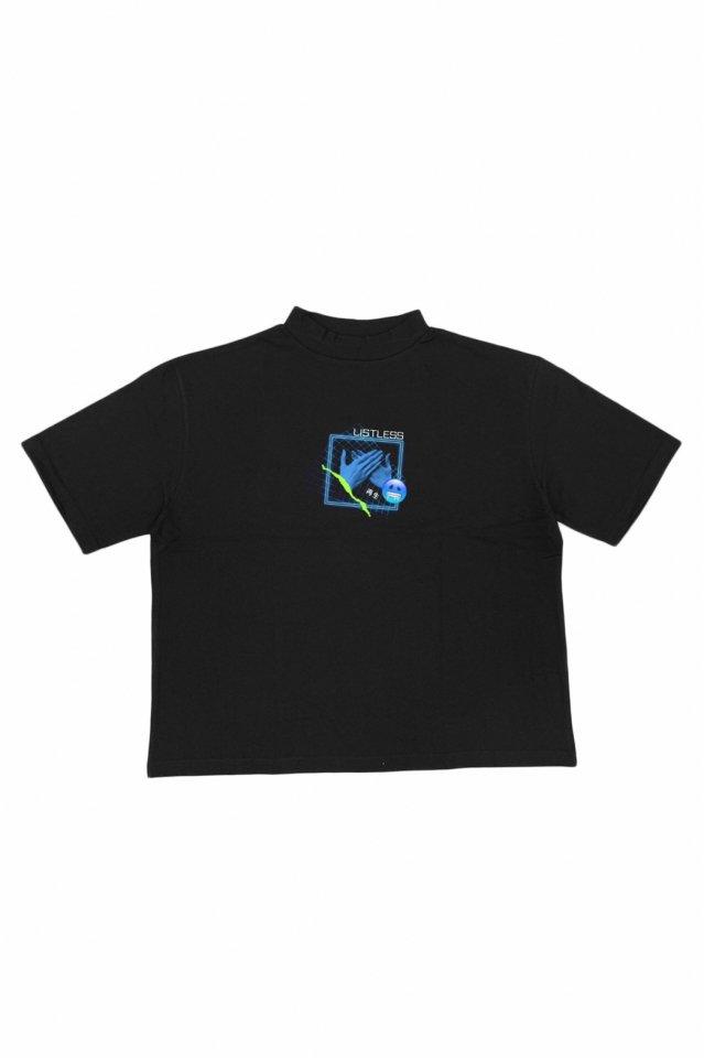LISTLESS - MOCK NECK TEE「再生2.0」(BLACK)