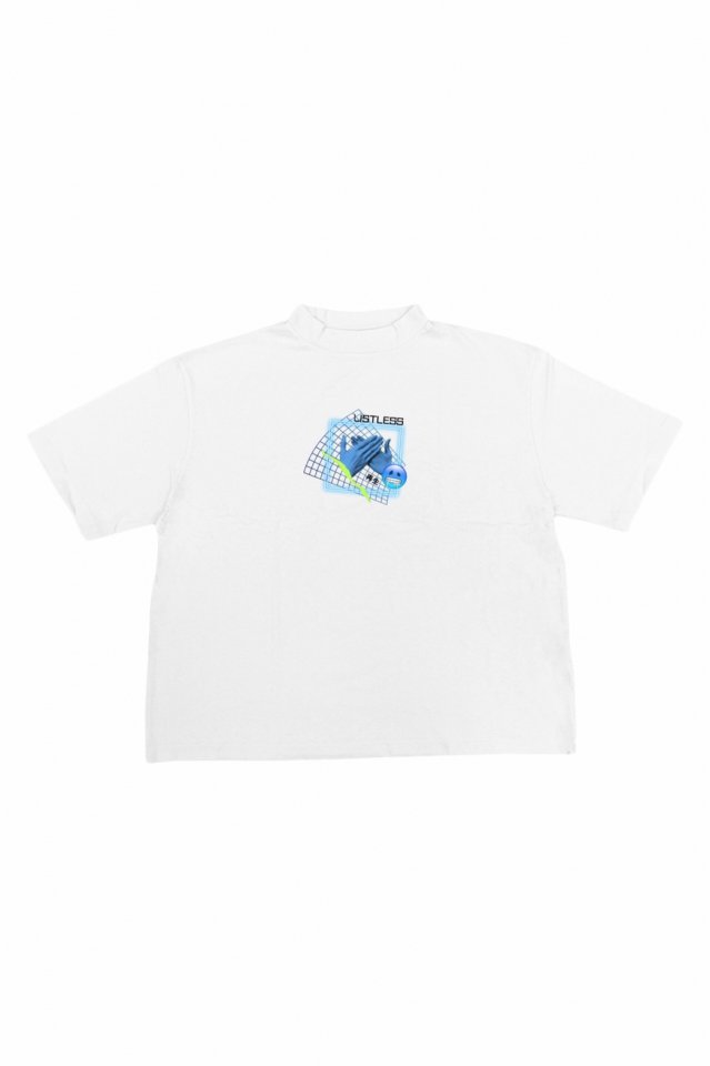 LISTLESS - MOCK NECK TEE「再生2.0」(WHITE)