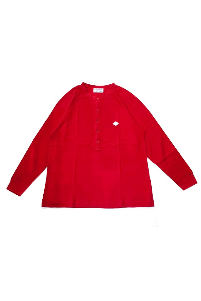 【20%OFF】elconductorH - WAFFLE HENLEY NECK LONGSLEEVE TOP(RED)