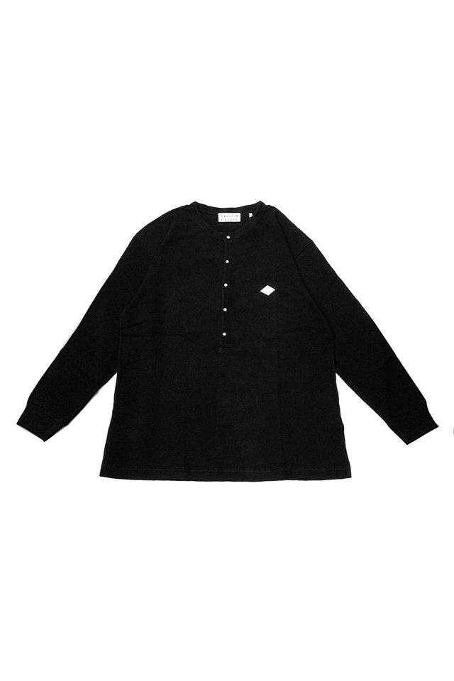 【20%OFF】elconductorH - WAFFLE HENLEY NECK LONGSLEEVE TOP(BLACK)