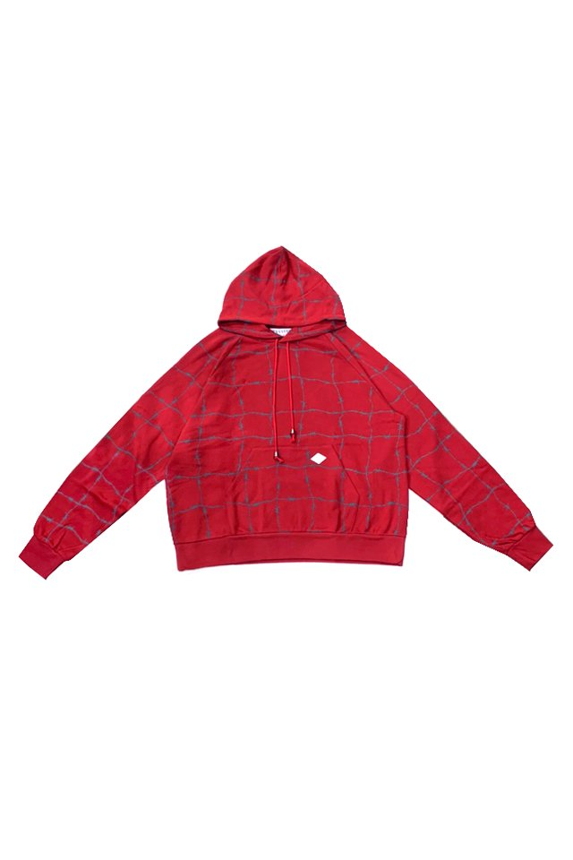 elconductorH - WIRE CHECK HOODED SWEATER (RED)