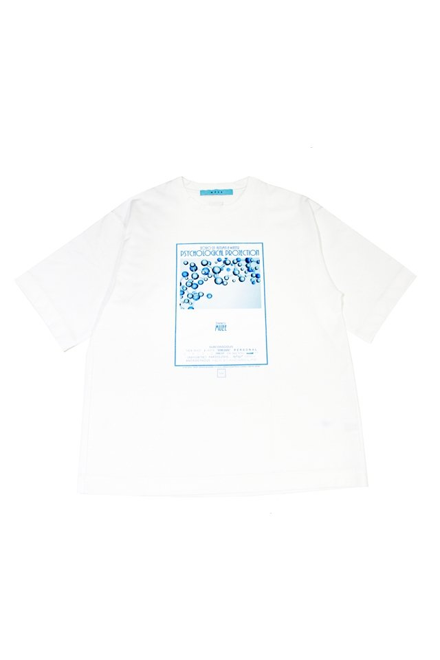 MUZE turquoise label - MUZE GALLERY 2nd ANNIVERSARY PSYCHOLOGICAL PROJECTION T-SH(WHITE)