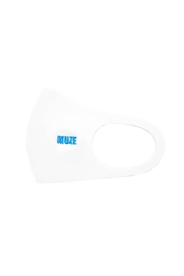 【10月中旬お届け予定先行予約商品】MUZE - MUZE EMBROIDERY MAGAZINE LOGO MASK(WHITE×TURQUOISE)