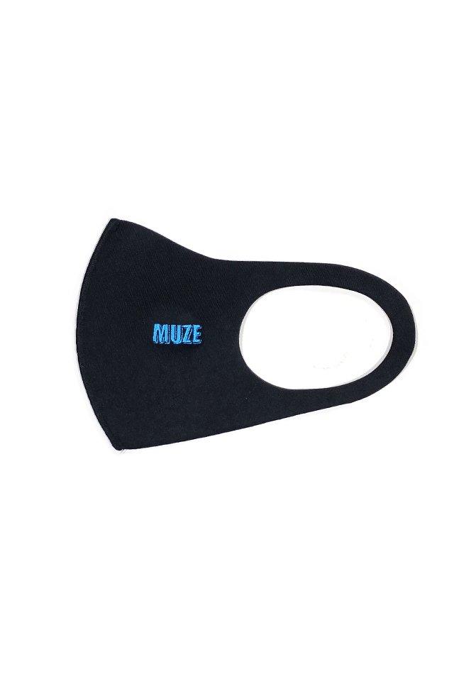 【10月中旬お届け予定先行予約商品】MUZE - MUZE EMBROIDERY MAGAZINE LOGO MASK(BLACK×TURQUOISE)