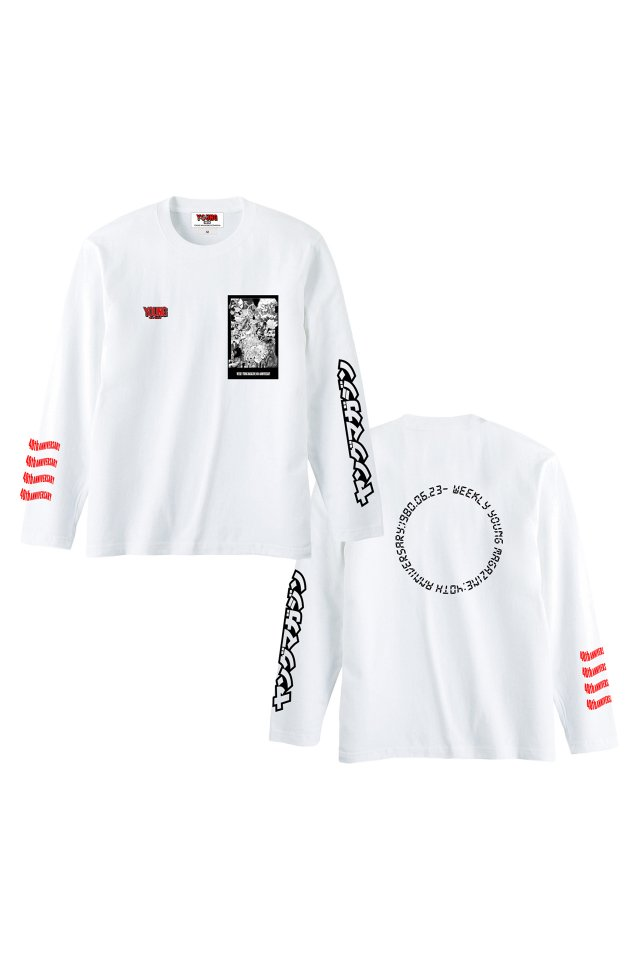 YM40th Anniversary - 『ヤンマガ』L/S T-SHIRTS(WHITE)