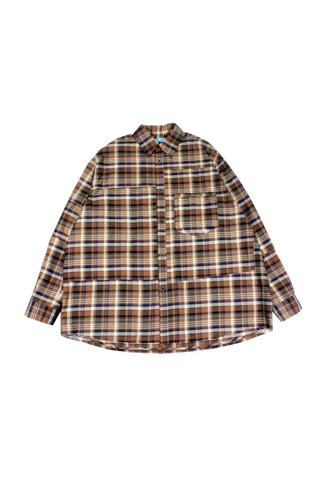 MUZE TURQUOISE LABEL - OVERSIZE CHECK SHIRT(BROWN×TURQUOISE)