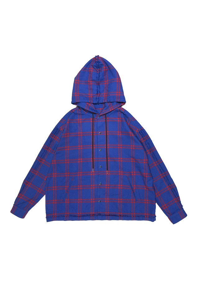 PRDX PARADOX TOKYO - HOODED CHECK SHIRTS (BLUE-RED)