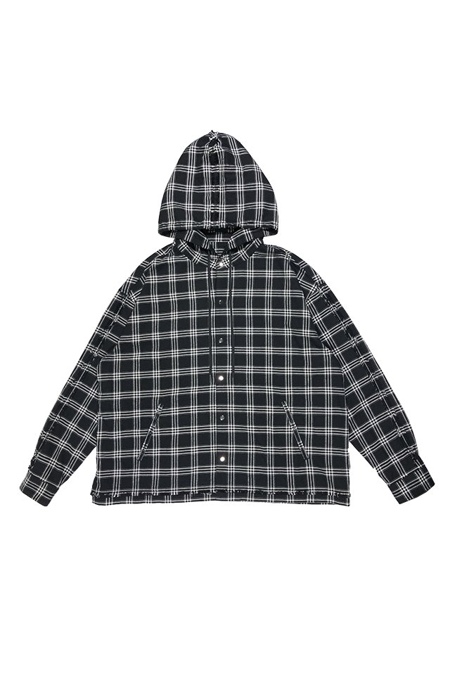 【10%OFF】PRDX PARADOX TOKYO - HOODED CHECK SHIRTS (BLK-WHITE)