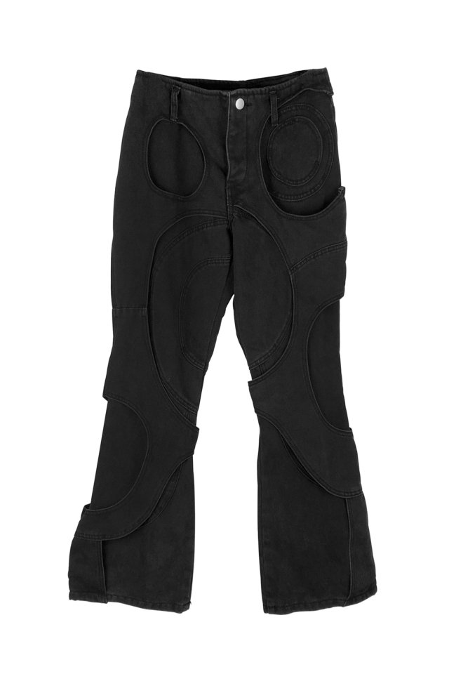 【20%OFF】cycle by MYOB - SPIRAL CUT-OUT DENIM PANTS  (BLACK) 2020 FALL WINTER COLLECTION