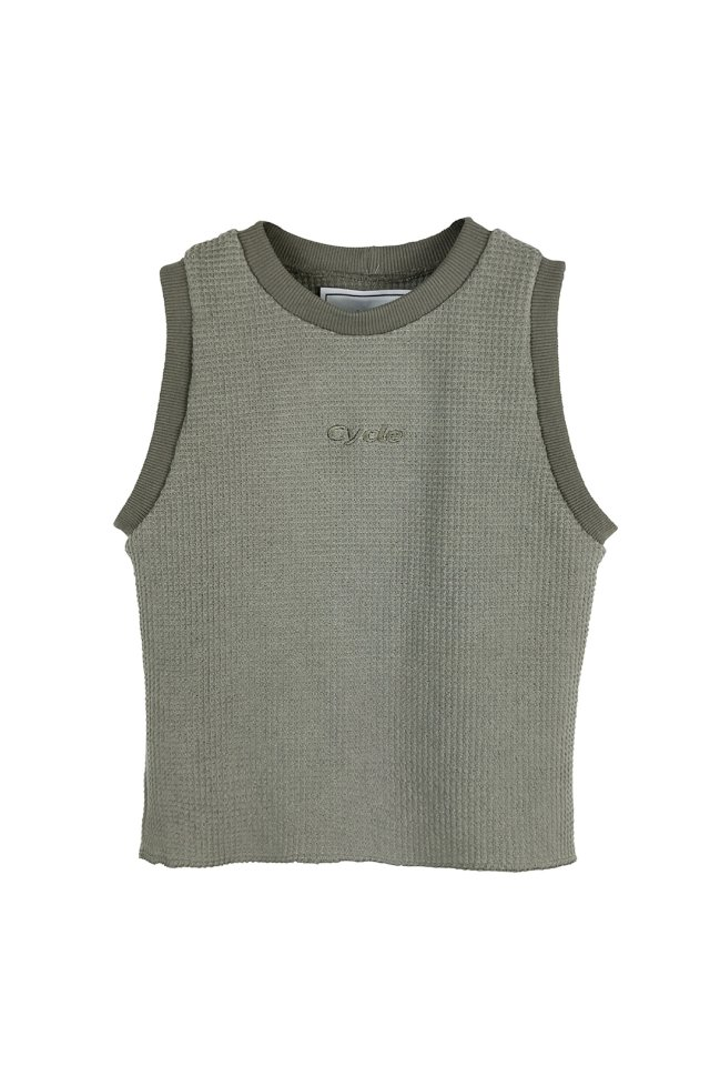 【20%OFF】cycle by MYOB - CYCLE SLEEVELESS TOPS  (KHAKI) 2020 FALL WINTER COLLECTION