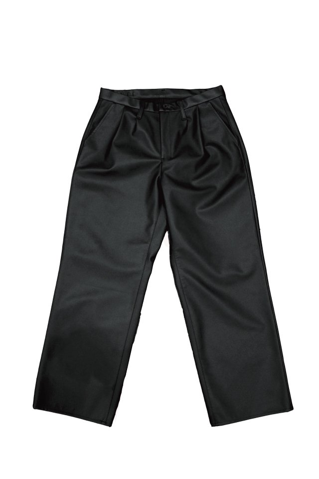 H>FRACTAL - PU LETAHER TUCK TROUSERS(BLACK)