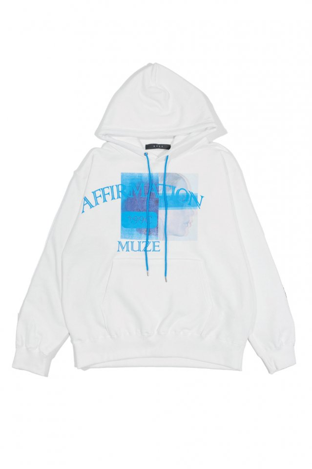 MUZE BLACK LABEL - affirmation HOODIE(WHITE)
