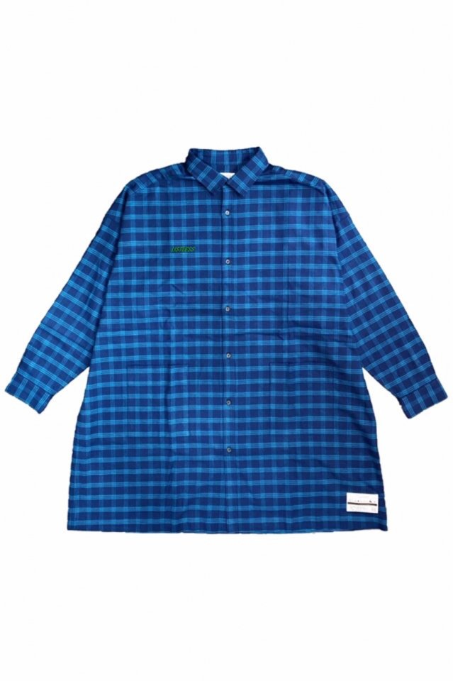 LISTLESS - 『青い夜』-LONG CHECK SHIRT-(NAVY×GREEN)
