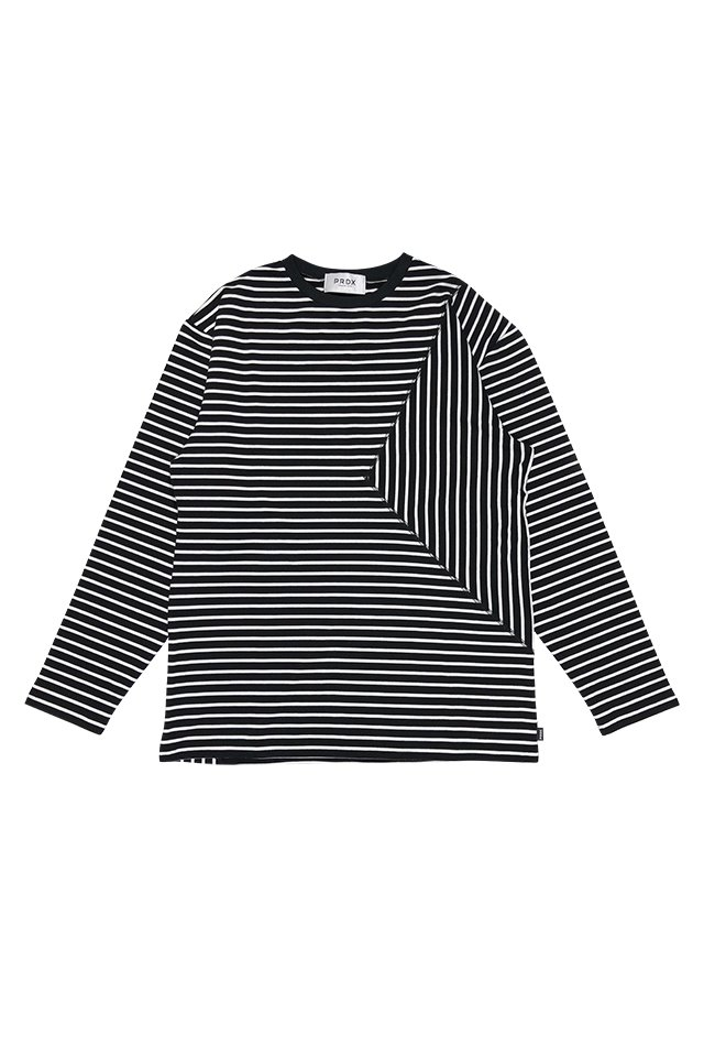 PRDX PARADOX TOKYO - SHIFTED BORDER L/S T-SHIRTS(BLACK-WHITE)