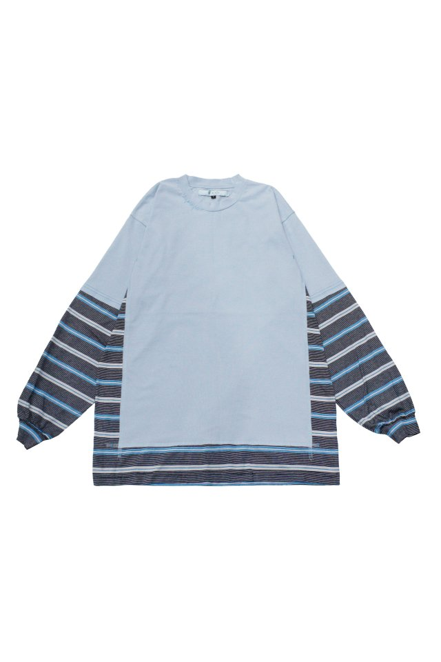 MUZE TURQUOISE LABEL - SWITCHING BORDER L/S TEE(LIGHT BLUE)