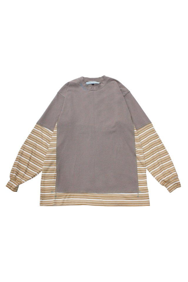 MUZE TURQUOISE LABEL - SWITCHING BORDER L/S TEE(BEIGE)