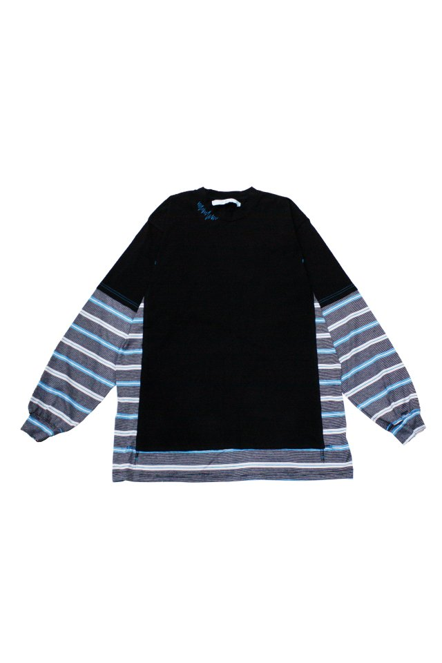 MUZE TURQUOISE LABEL - SWITCHING BORDER L/S TEE(BLACK)