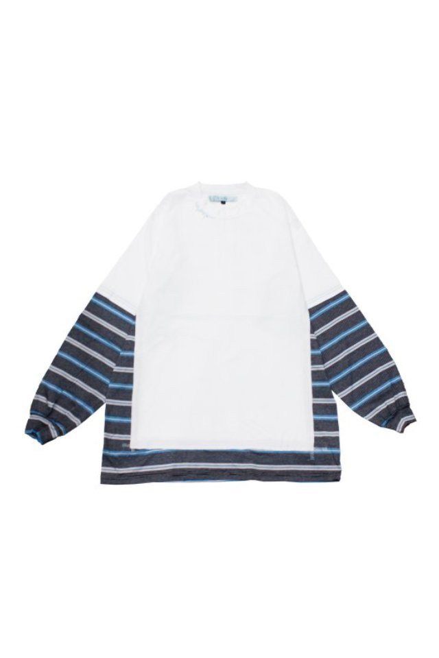 MUZE TURQUOISE LABEL - SWITCHING BORDER L/S TEE(WHITE)