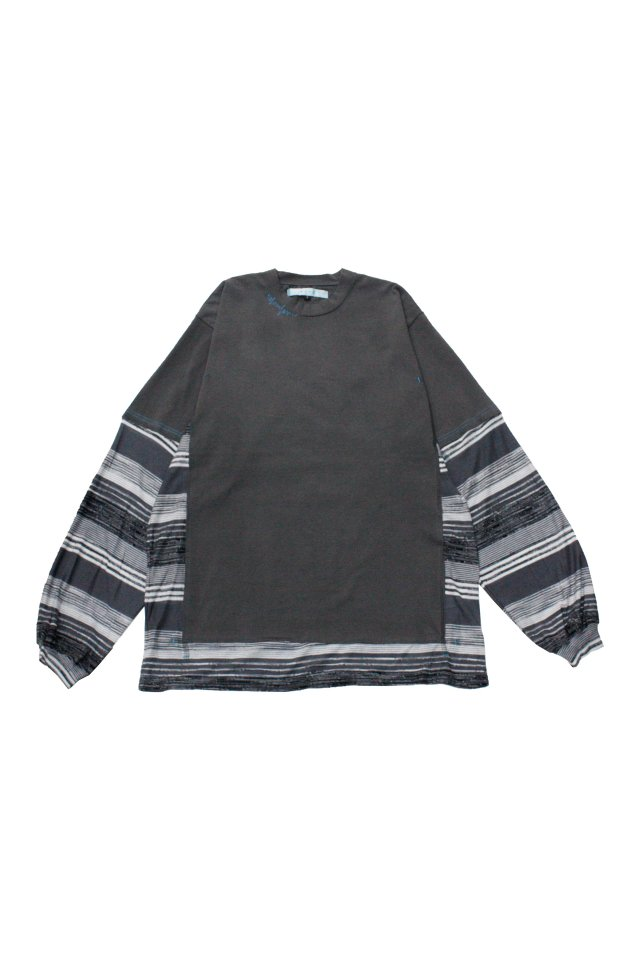 MUZE TURQUOISE LABEL - SWITCHING BORDER L/S TEE(GRAY)