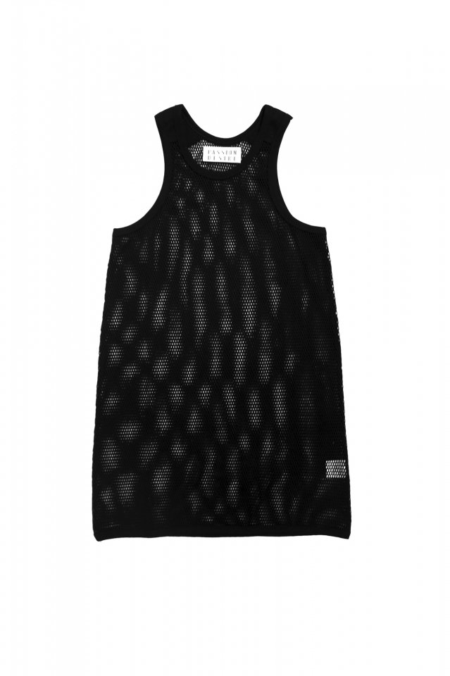 elconductorH - COTTON MESH LONGLENGTH TANKTOP(BLACK)